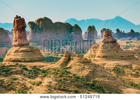 Petrified Sand Dunes Garden Of Eden La Salle Mountains Arches National Park Moab Utah