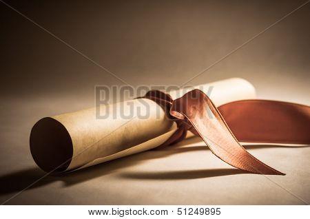 Diploma Scroll With Ribbon - Vintage