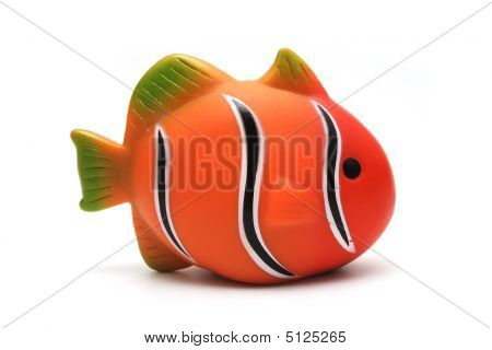 Orange Plastic Toy Clown Fish on White Background poster