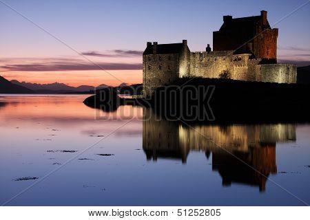 Eilean Donan Castle At Sunset In The Highlands, Scotland