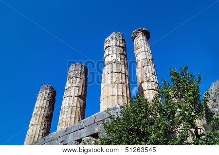 Temple Of Apollo At Delphi Oracle Archaeological Site In Greece