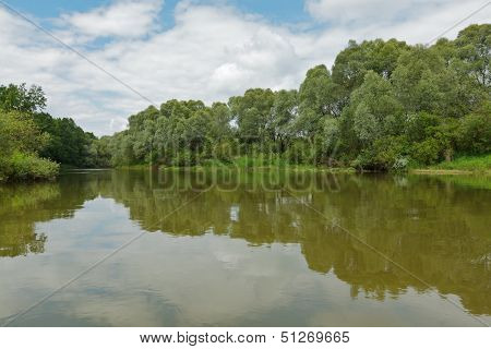 Calm river in a beautiful summer day