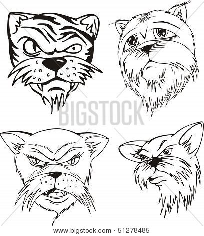Aggressive cat heads. Set of black and white vector tattoo designs. poster