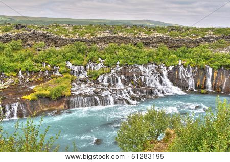 Hraunfossar waterfall in Iceland