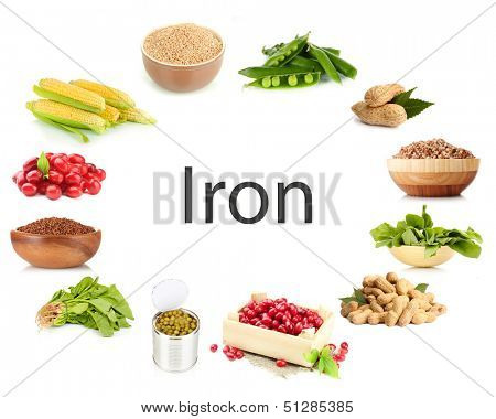 Collage of products containing iron