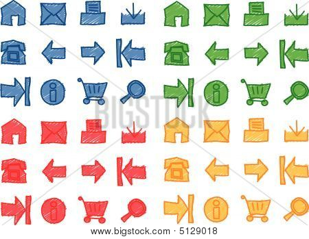 Web Icons Hand Scribbled (vector)