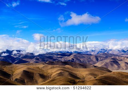 View point Himalaya on the pass, Tibet poster