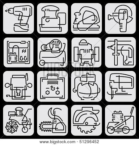 Tools icons line