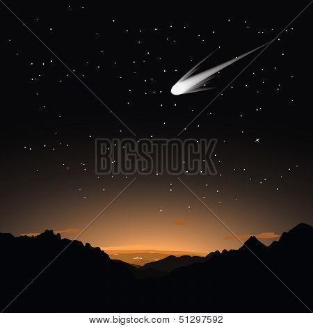 Comet in the evening sky