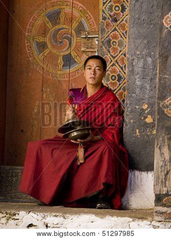 Trongsa, Bhutan - October 23, 2010: A Monk Rehearsing For The Trongsa Tsechu On Oct. 23, 2010 In Tro