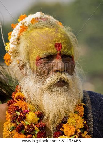 Orchha, India - November 6, 2010: An Old Man Dressed Up For The Diwali Festival (festival Of Light)