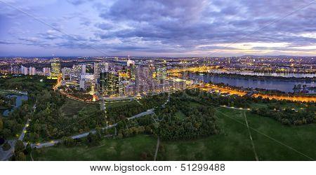 Skyline Of Donau City Vienna At Dusk