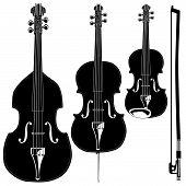 Stringed instruments in detailed vector silhouette. Set includes violin viola cello upright bass and bow. poster