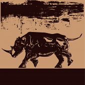 Background grunge illustration of a black rhino (in brown) poster