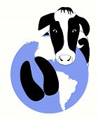 A vector graphic of a cow hoof carbon print on the earth. poster