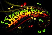 vector illustration of Halloween Background with gostly eye poster