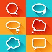 Set of speech bubbles in flat design style. poster