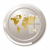 Silver glass paper weight with light reflection and gold world poster