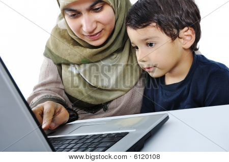 A Little Cute Kid With A Laptop Isolated, Education Process