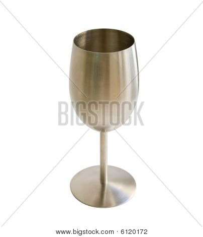 Metal Goblet For Wine Isolated On White