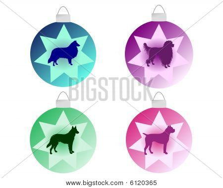 Christmas tree bauble with different dog motifs poster