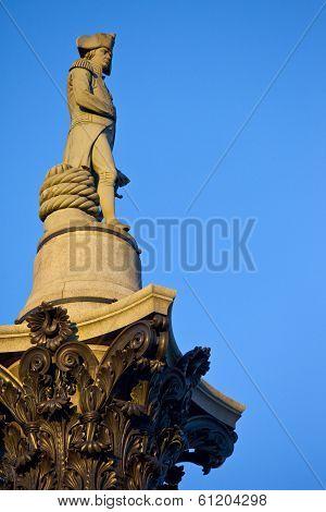 Admiral Nelson Ontop Of Nelson's Column In Trafalgar Square
