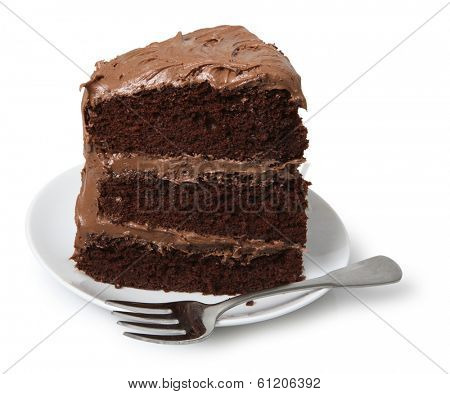 Piece of cake on small dessert plate with fork, white background