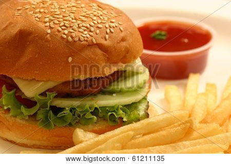 A Veggie Burger Is A Hamburger-style Which Contains Vegetables (like Corn), Textured Vegetable