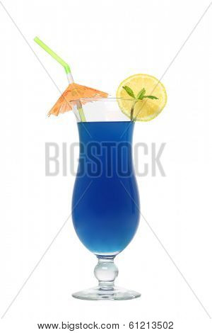 Blue tropical cocktail drink cutout, isolated on white background