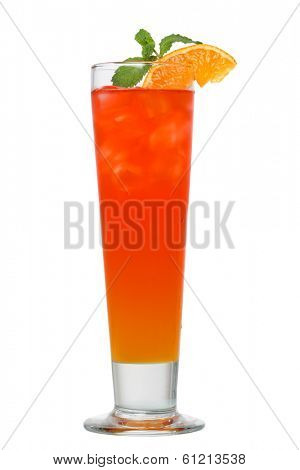 Cocktail drink with orange and mint cutout, isolated on white background