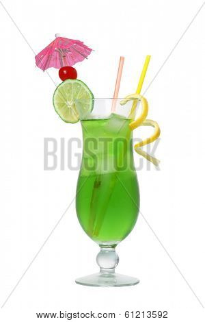 Green tropical cocktail drink cutout, isolated on white background