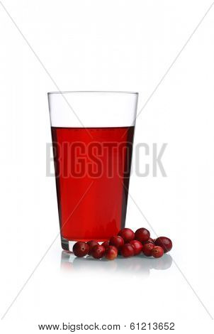 Cranberries and Cranberry juice cutout, isolated on white background