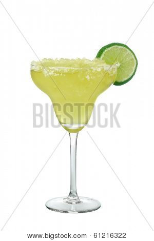 Margarita drink with lime slice cutout, isolated on white background