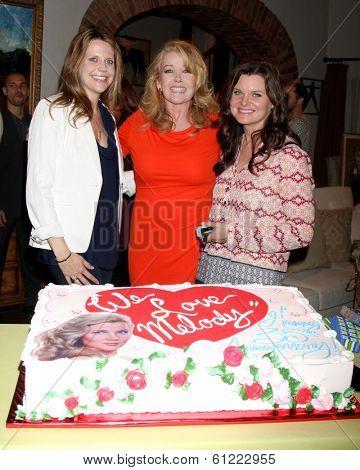 LOS ANGELES - MAR 4:  Ashley Millan, Melody Thomas Scott, Heather Tom as Melody Thomas Scott Celebrates 35 yrs at YnR at CBS TV City on March 4, 2014 in Los Angeles, CA