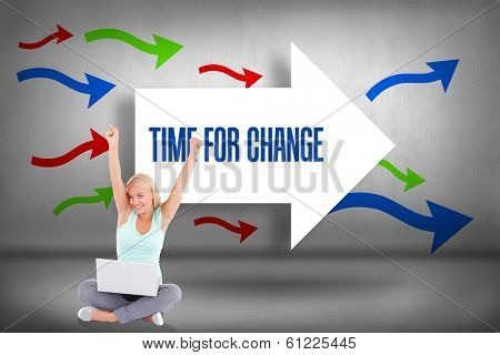 The word time for change and joyful woman with a notebook against arrows pointing poster