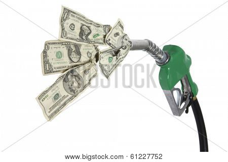 Gas nozzle and hose with cash