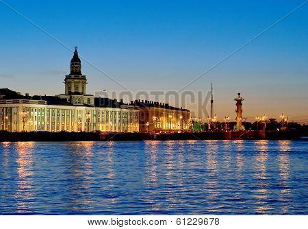 White nights (natural phenomenon). View of the Neva river and Curiosity Chamber. St.Petersburg, Russia.
