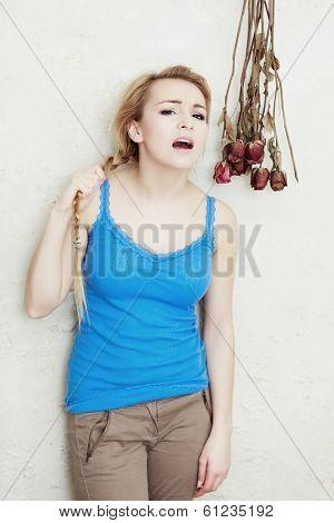 Mad Woman Angry Teenage Girl Screaming. Adolescence.
