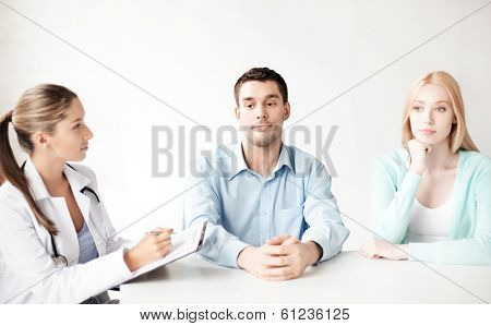 bright picture of doctor with patients in cabinet poster