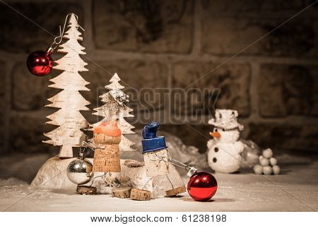 Wine Cork Figures, Concept Two Men Decoration Baubles