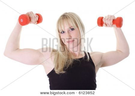 blonde girl with two weights