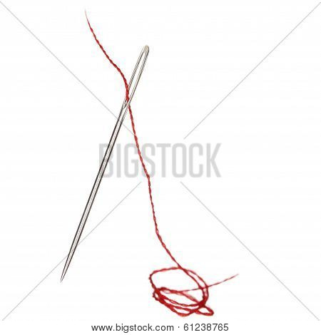 isolated sewing needle with red thread on white poster