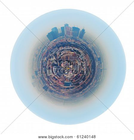 Urban Spherical Panorama Of Moscow City In Smog