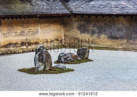 A Zen Rock Garden at Ryoanji Temple in Kyoto