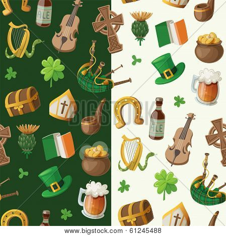 Pattern for saint patrick day with traditional irish items
