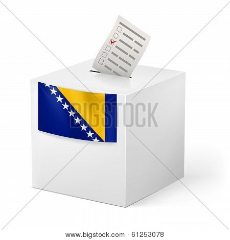 Ballot box with voting paper. Bosnia and Herzegovina