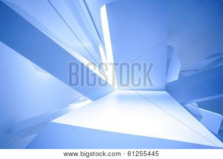 Modern abstract cube construction in blue horizontal view