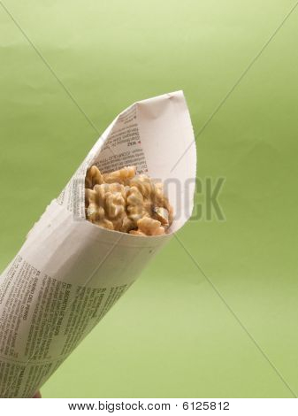 Newspaper Cone With Nuts