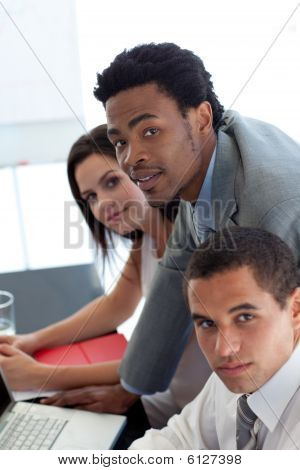 Afro-american Businessman Working With His Team