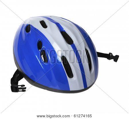blue helmet on white background